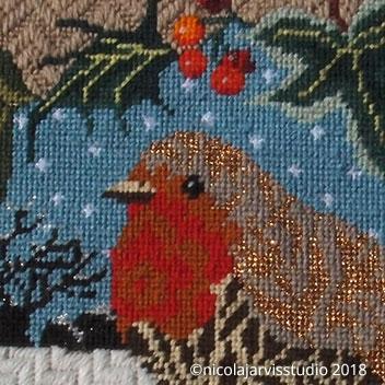 Christmas Robin - Luxury Canvas Work