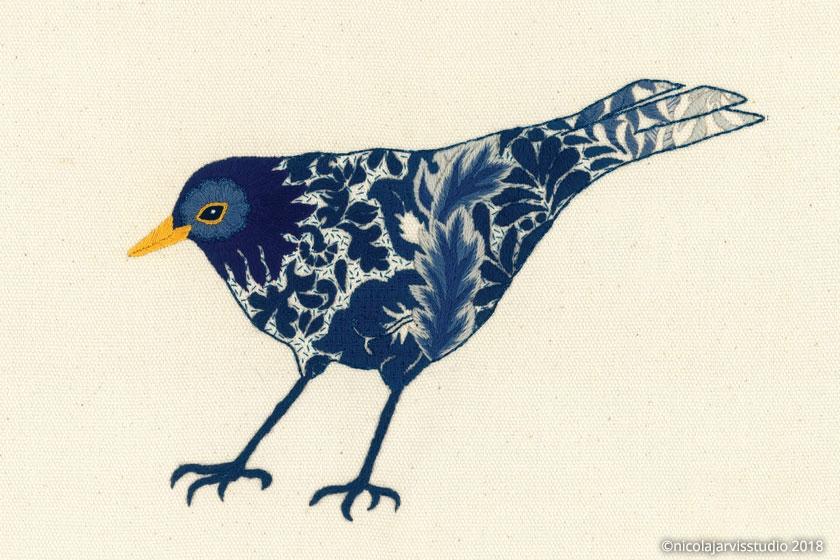 Nicola Jarvis crewel midnight blackbird