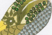 Nicola Jarvis embellished crewel green woodpecker