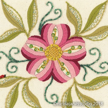 William Morris-inspired Fruit and Flowers - Crewel Work