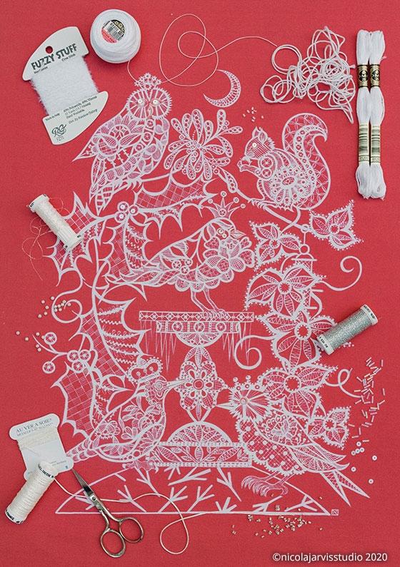 'Frosty Garden' festive fabric
